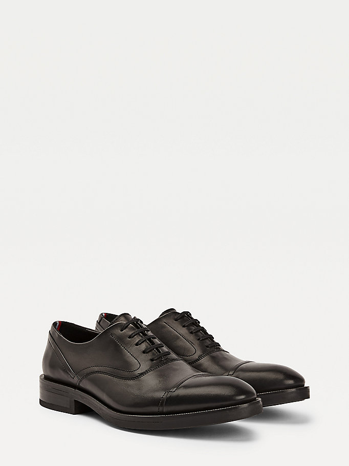 black premium leather lace-up derby shoes for men tommy hilfiger