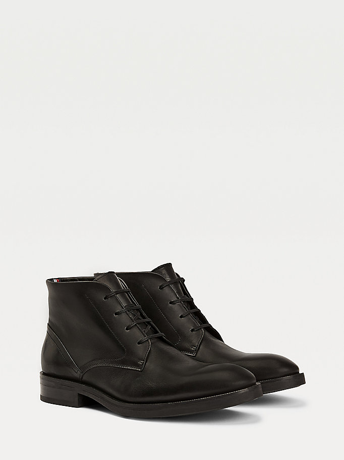 black premium leather lace-up derby boots for men tommy hilfiger