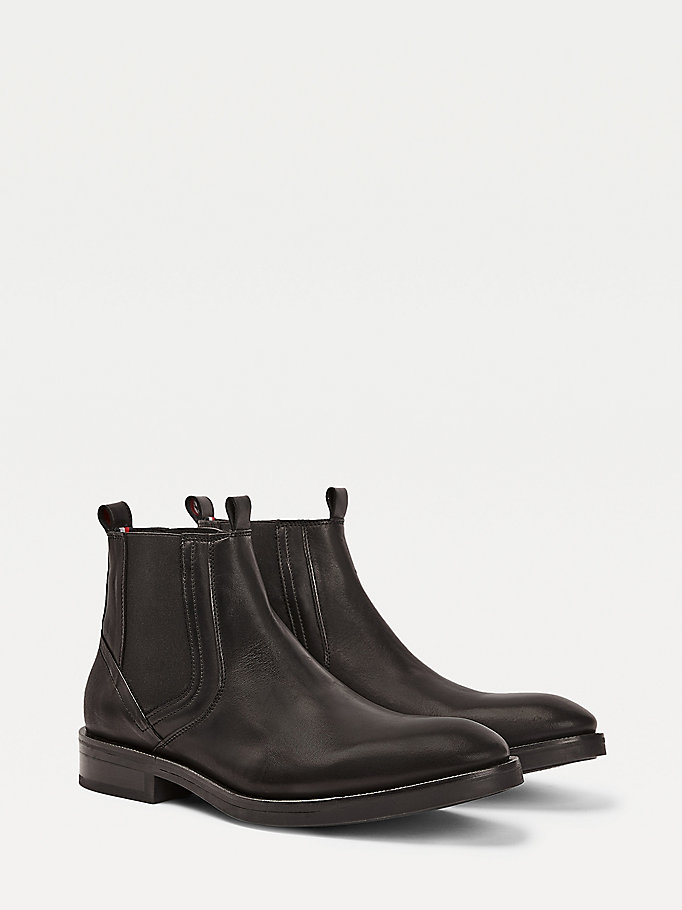 black premium leather pull-on chelsea boots for men tommy hilfiger
