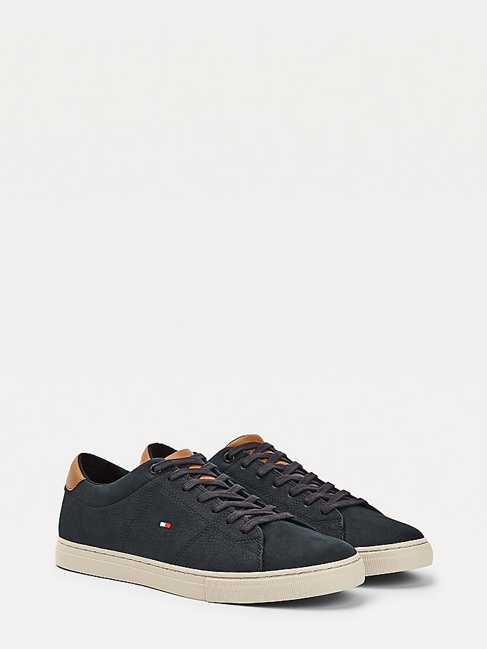 blue nubuck leather mix trainers for men tommy hilfiger
