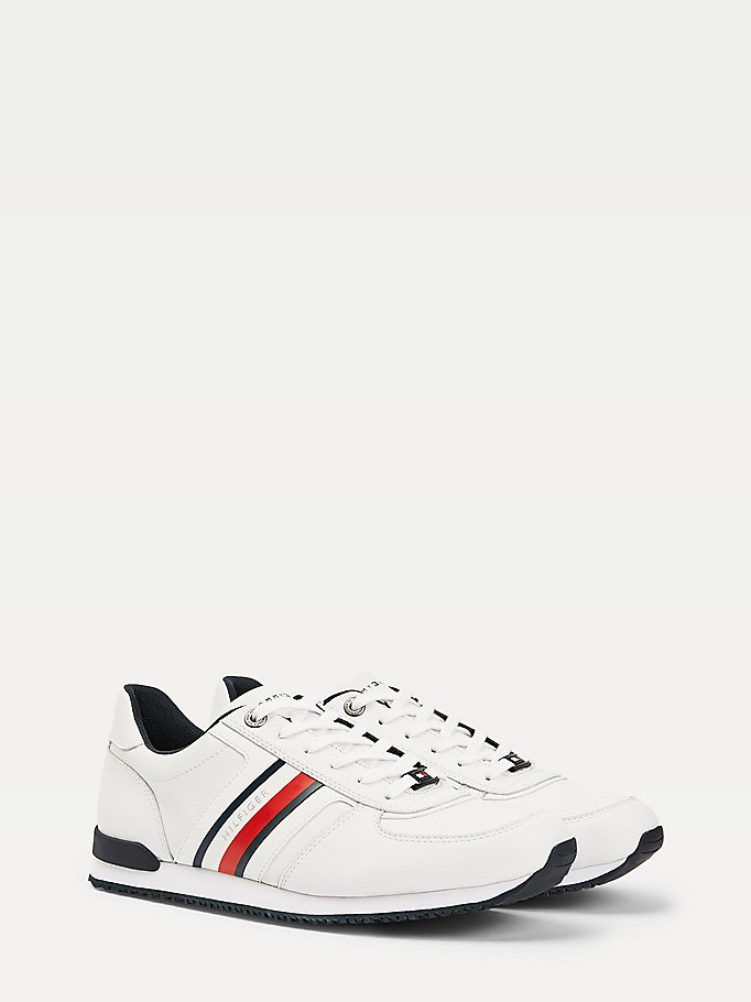 white signature tape trainers for men tommy hilfiger