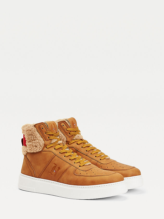 brown lewis hamilton shearling high-top trainers for men tommy hilfiger