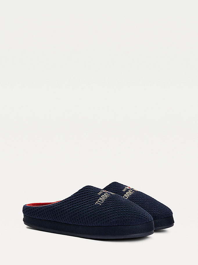 blue cotton waffle slippers for men tommy hilfiger