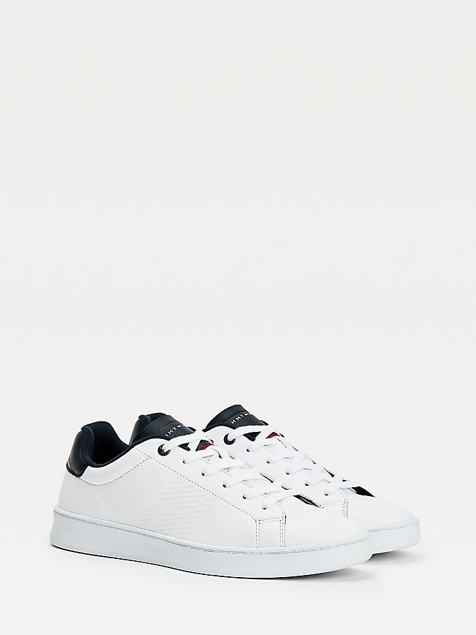 white retro leather tennis trainers for men tommy hilfiger