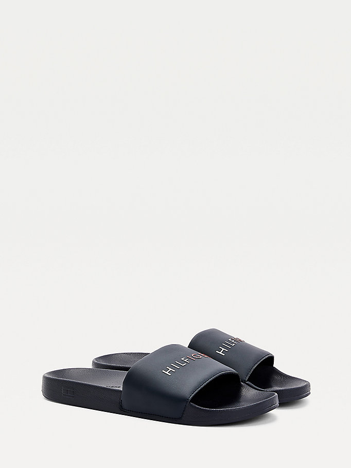 blue raised logo slides for men tommy hilfiger
