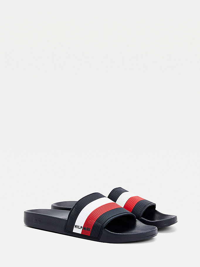 blue essential signature slides for men tommy hilfiger