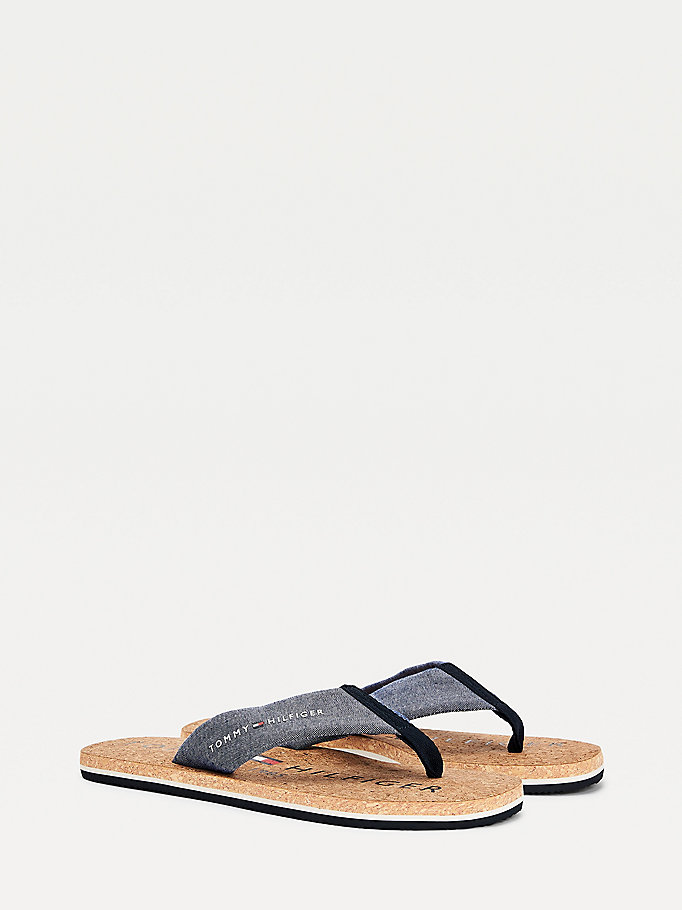 blue cork sole flip-flops for men tommy hilfiger