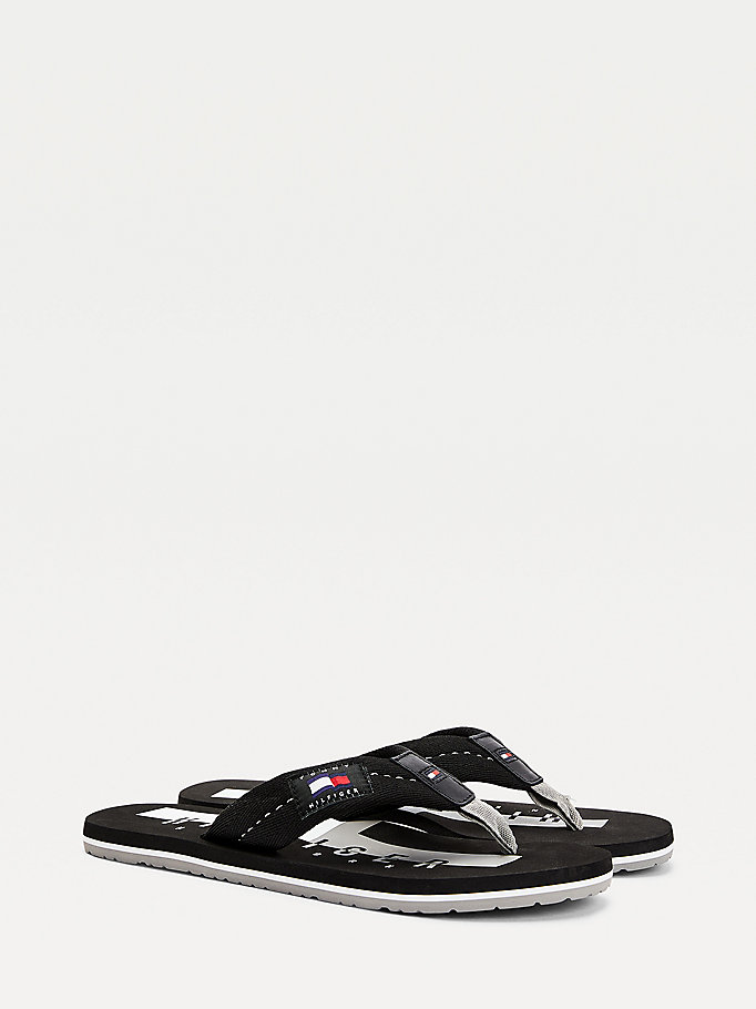 black cotton flip-flops for men tommy hilfiger