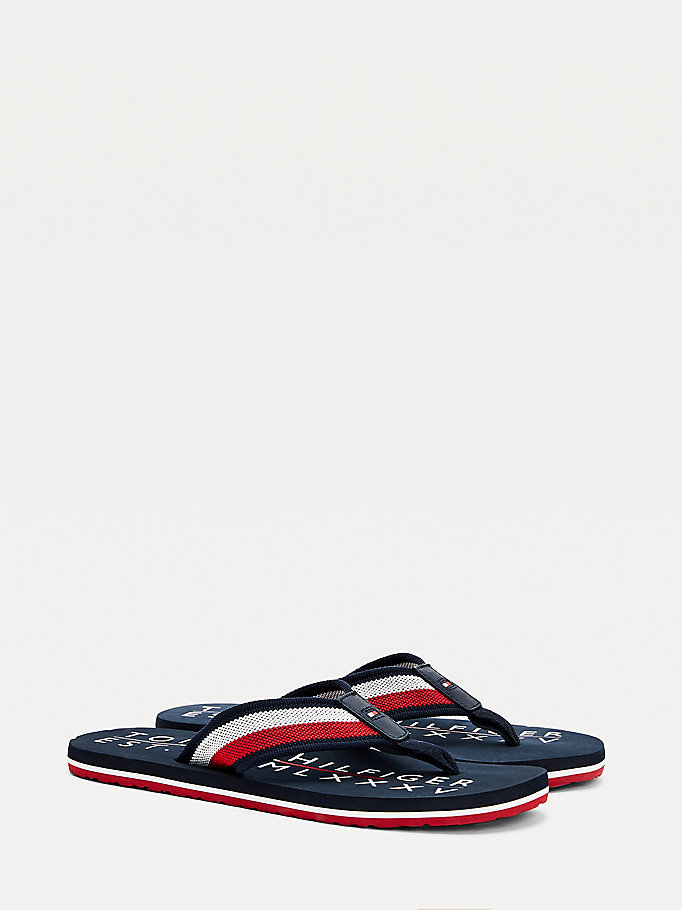 blue signature tape strap flip-flops for men tommy hilfiger