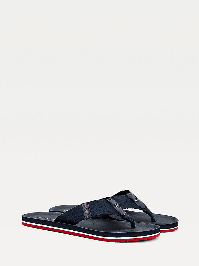 blue signature tape moulded footbed flip-flops for men tommy hilfiger