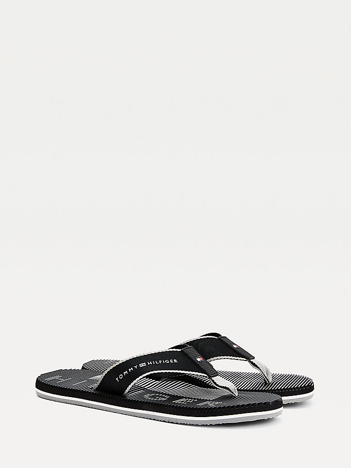 black massage footbed flip-flops for men tommy hilfiger