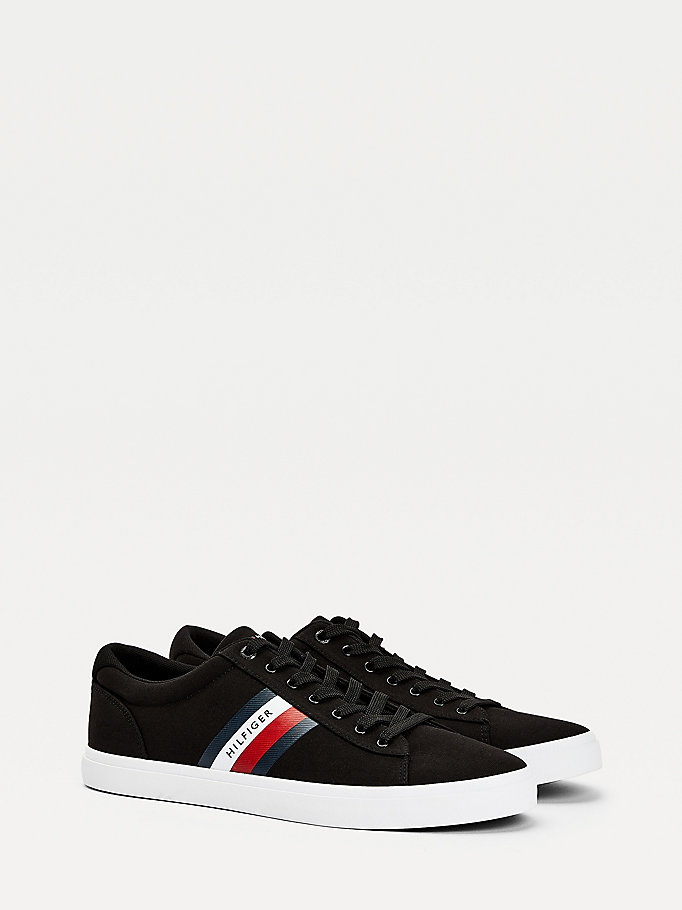 black essential pure cotton trainers for men tommy hilfiger