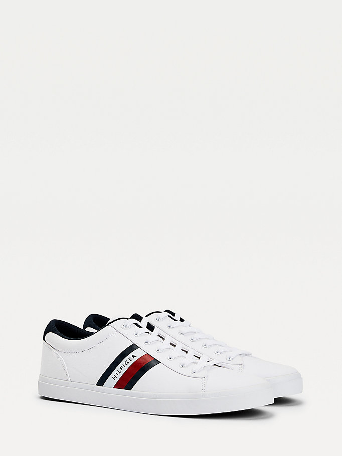 white essential pure cotton trainers for men tommy hilfiger