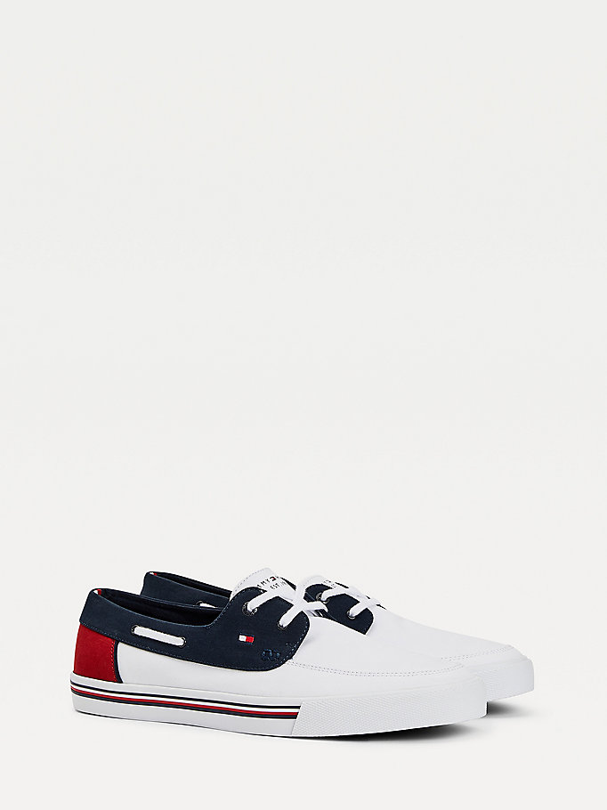 blue signature vulcanised boat shoes for men tommy hilfiger