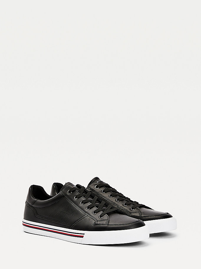 black signature outsole leather trainers for men tommy hilfiger