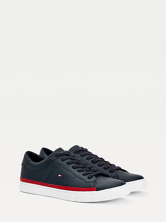 blue essential leather contrast trainers for men tommy hilfiger