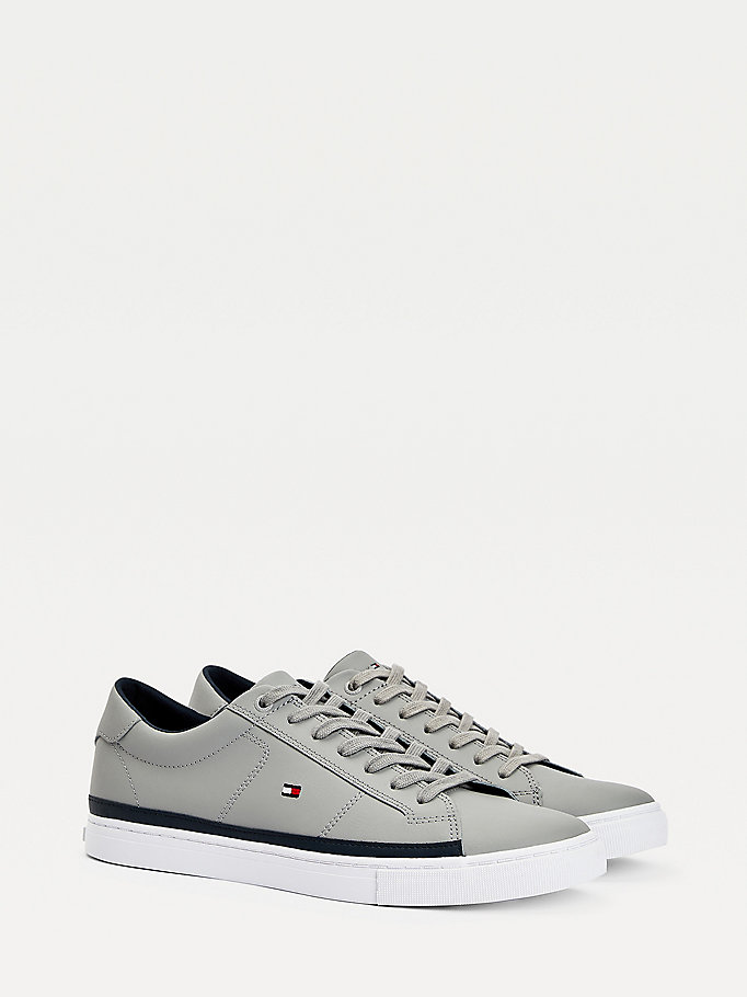 grey essential leather contrast trainers for men tommy hilfiger