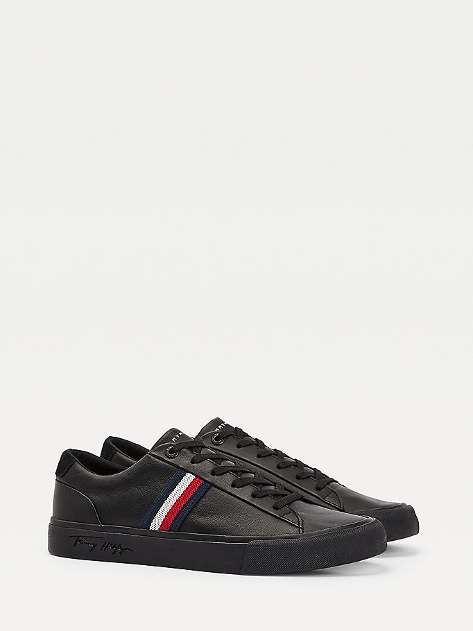 black signature tape leather trainers for men tommy hilfiger