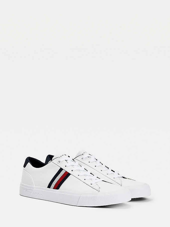 white signature tape leather trainers for men tommy hilfiger