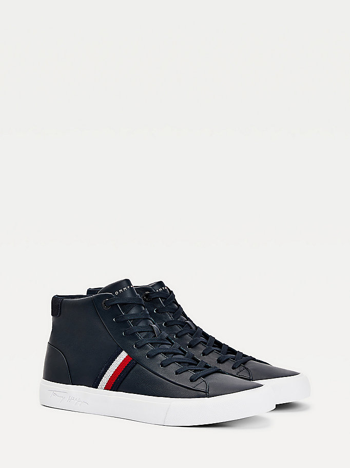 blue signature panel leather trainers for men tommy hilfiger