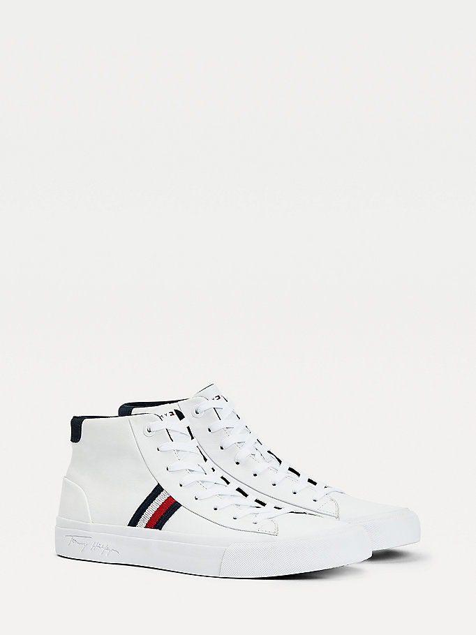 white signature panel leather trainers for men tommy hilfiger