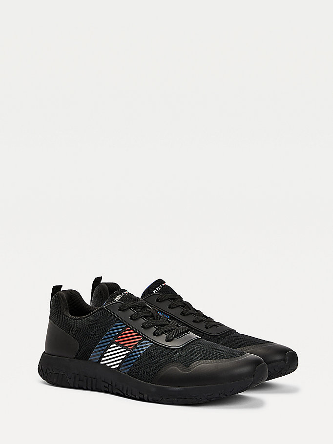 black lightweight mesh panel trainers for men tommy hilfiger