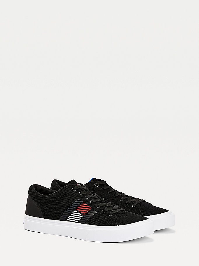 black lightweight knitted trainers for men tommy hilfiger