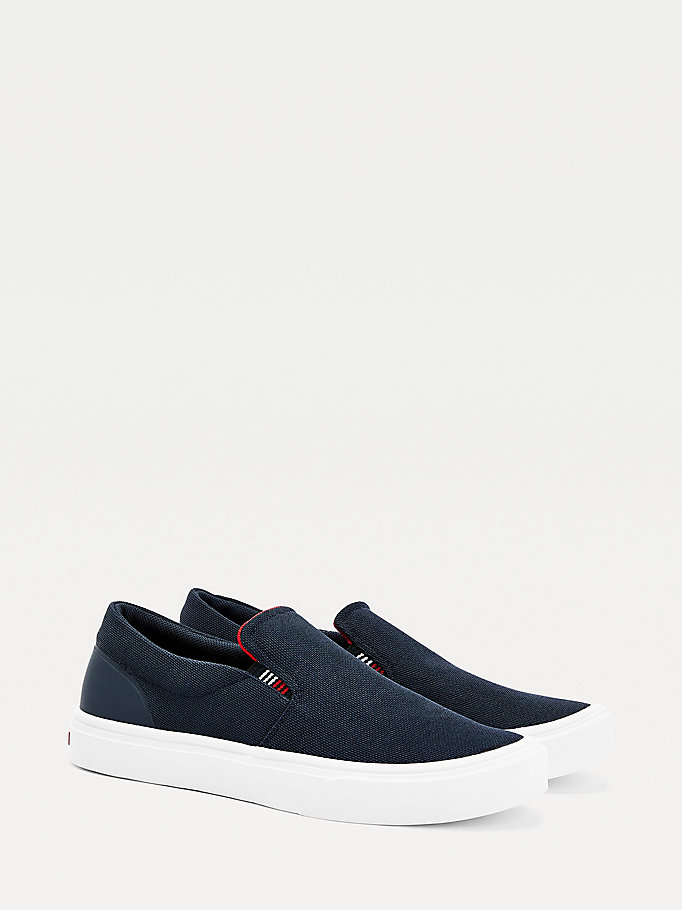 baskets slip-on en maille légère bleu pour men tommy hilfiger