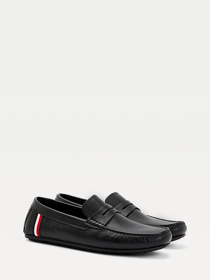 black classics leather driver shoes for men tommy hilfiger