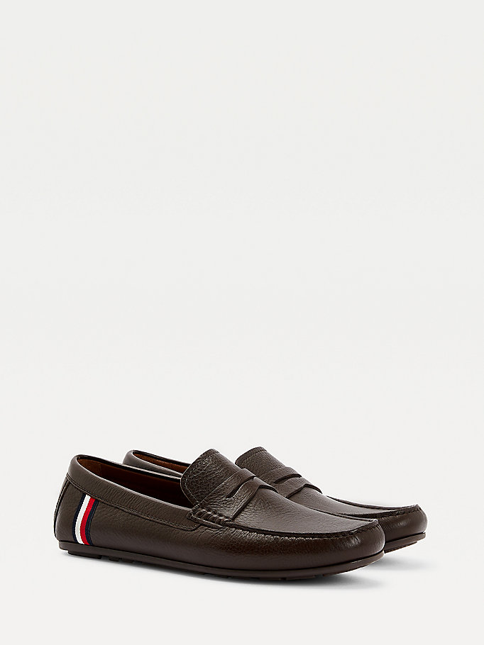 brown classics leather driver shoes for men tommy hilfiger
