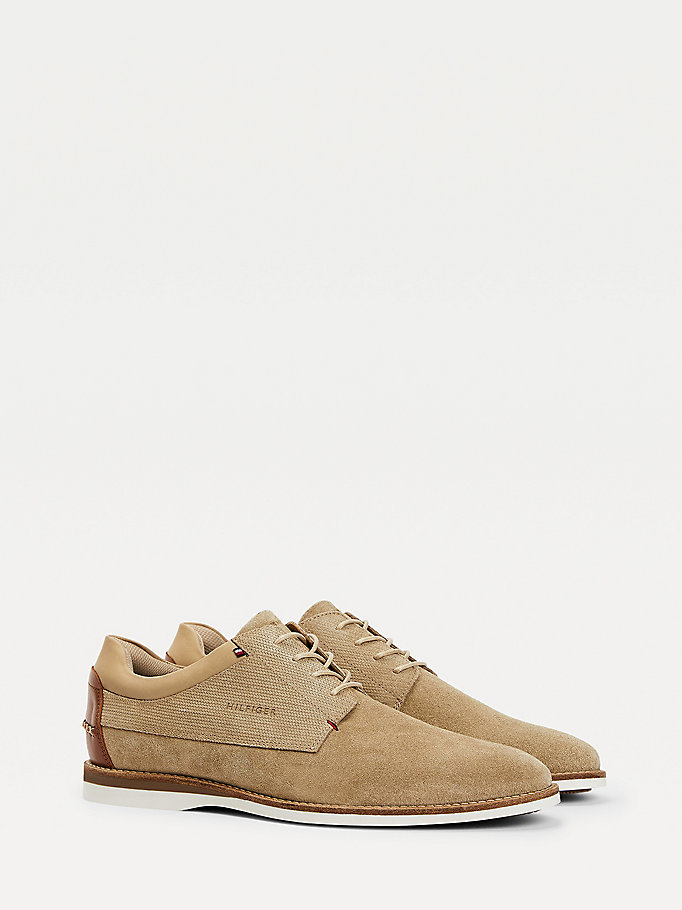 beige mixed texture suede shoes for men tommy hilfiger