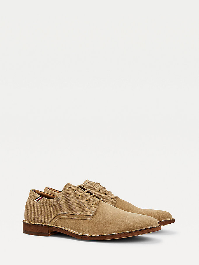 beige lace-up suede shoes for men tommy hilfiger