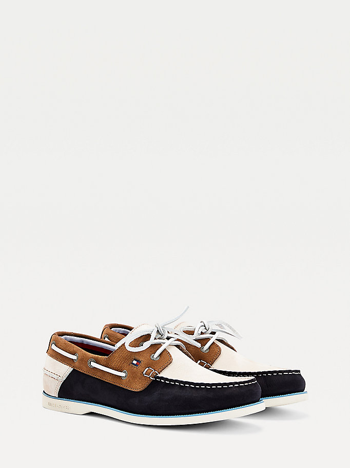 blue nubuck leather contrast panel boat shoes for men tommy hilfiger