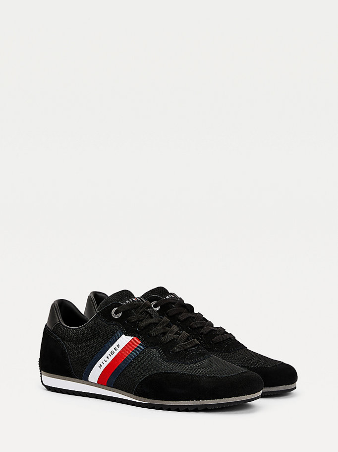 black essential mesh signature tape trainers for men tommy hilfiger