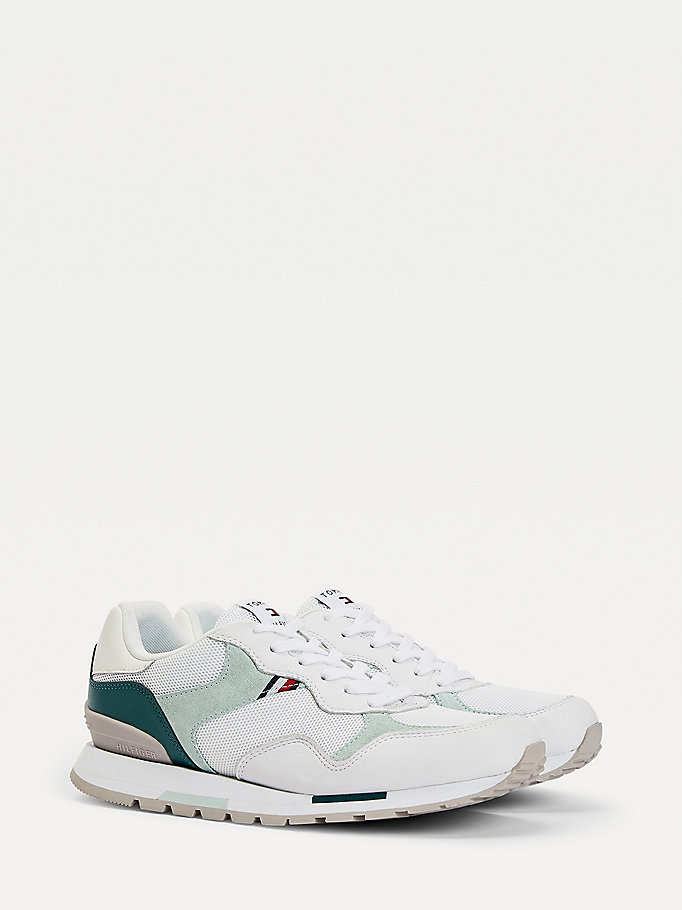 green retro mixed texture trainers for men tommy hilfiger