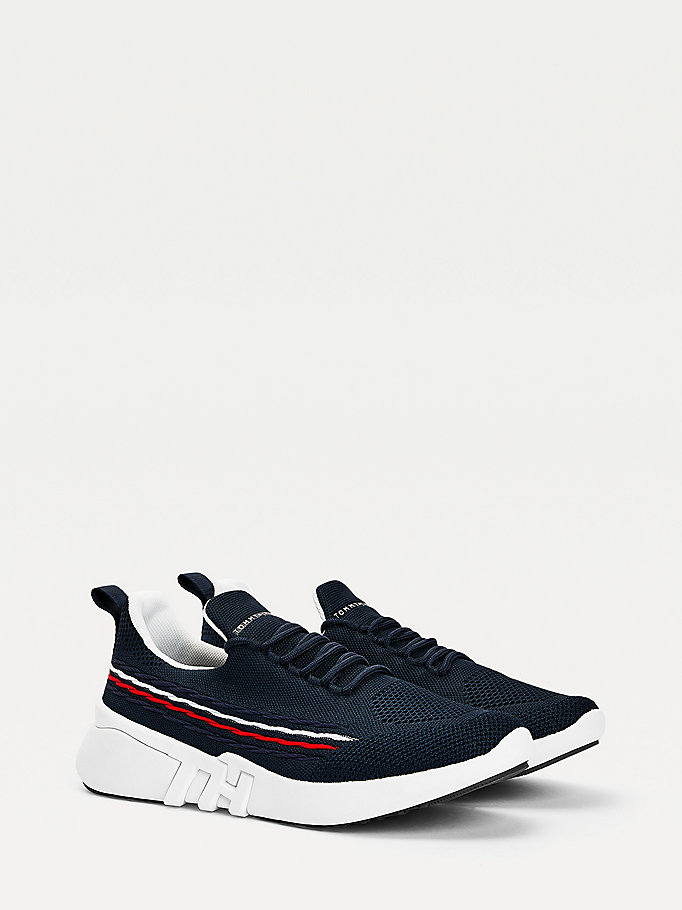 blue knitted monogram trainers for men tommy hilfiger