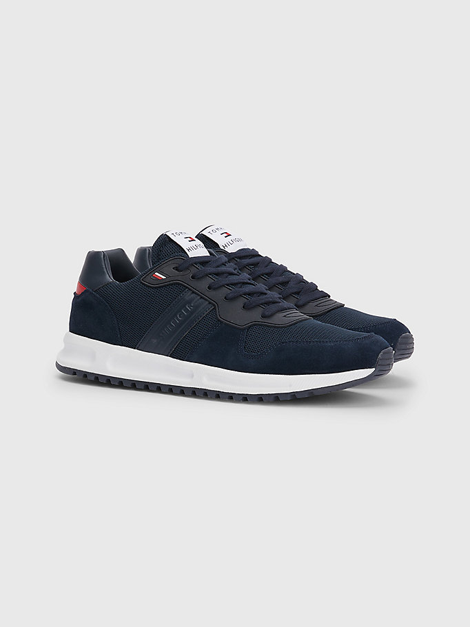 blue th modern suede trainers for men tommy hilfiger