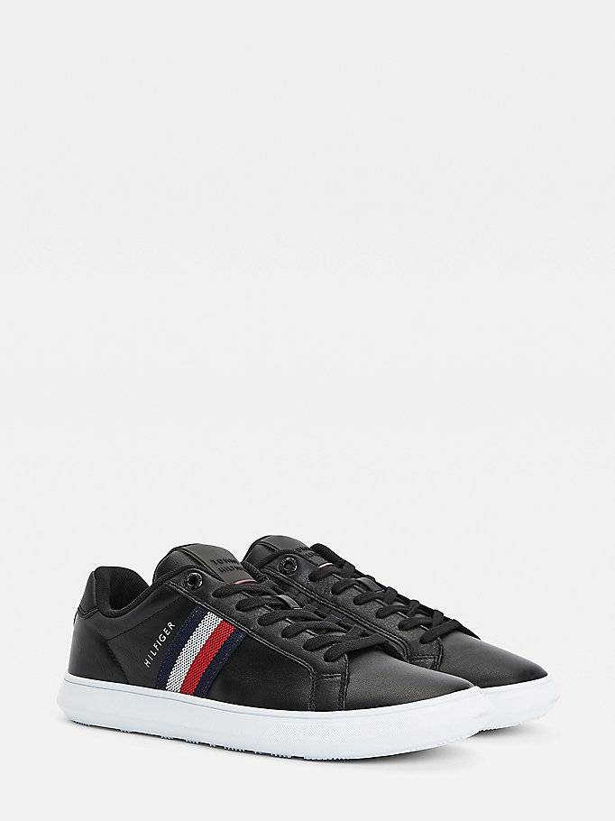black essential leather cupsole trainers for men tommy hilfiger