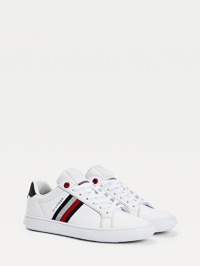 white essential leather cupsole trainers for men tommy hilfiger
