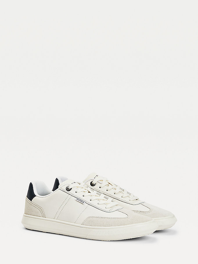 white leather lace-up cupsole trainers for men tommy hilfiger