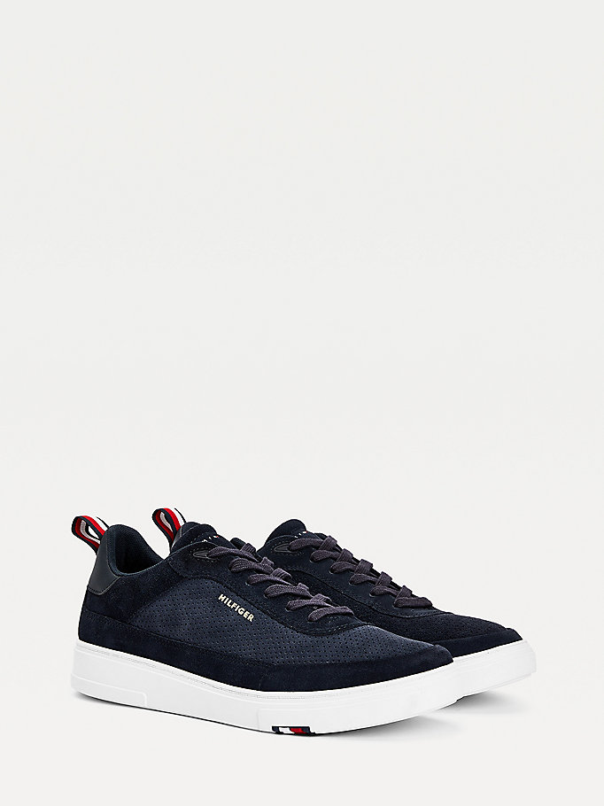 blue th modern suede cupsole trainers for men tommy hilfiger