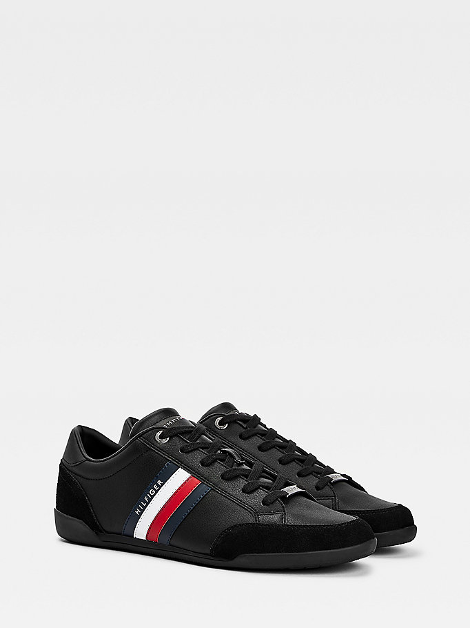 black signature detail cupsole trainers for men tommy hilfiger
