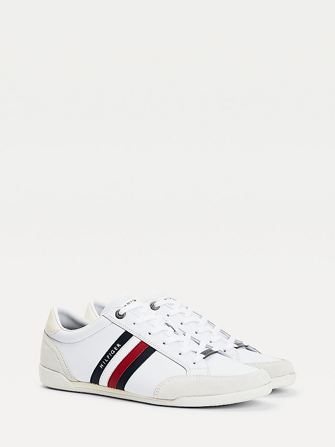 white signature detail cupsole trainers for men tommy hilfiger