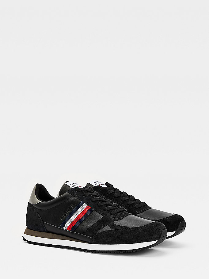 black leather stripe trainers for men tommy hilfiger