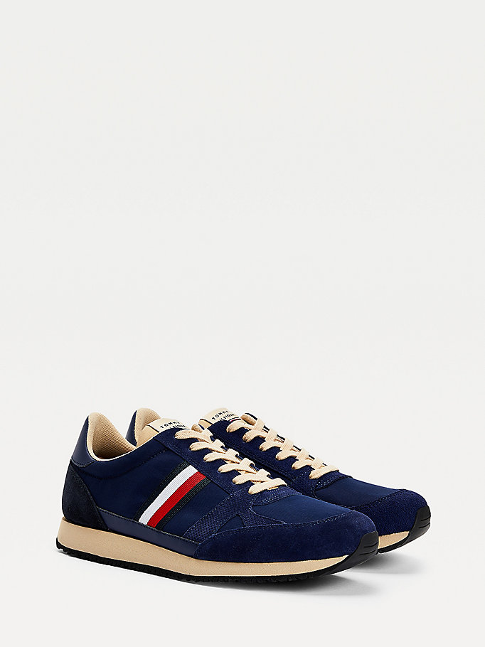 blue vintage mixed texture trainers for men tommy hilfiger