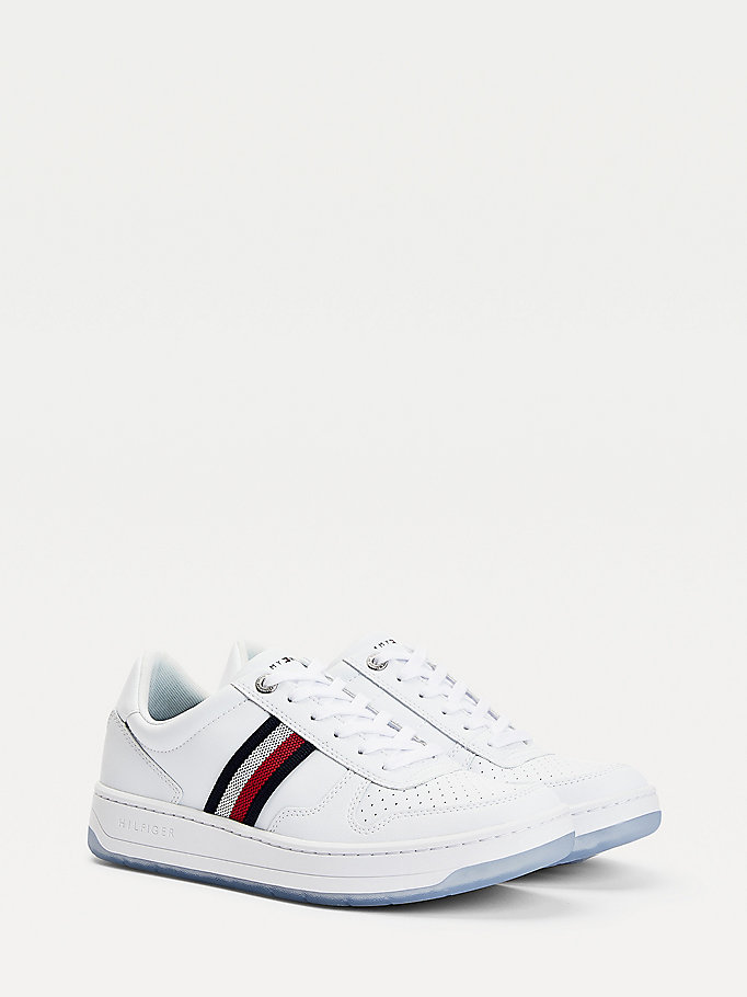 white basket leather cupsole trainers for men tommy hilfiger