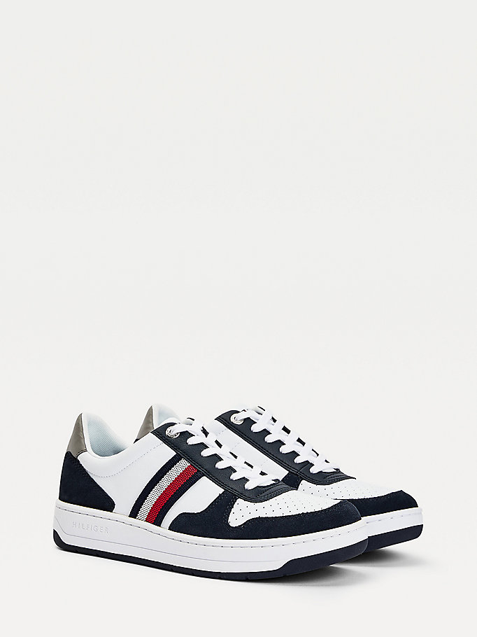 white basket cupsole trainers for men tommy hilfiger