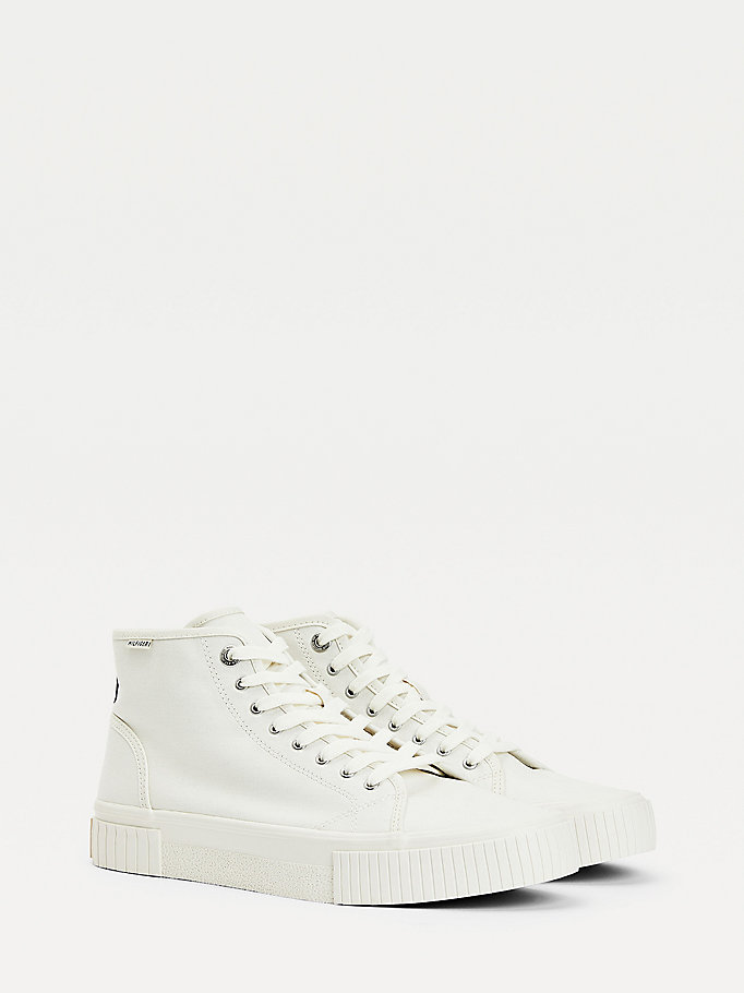 white organic cotton trainers for men tommy hilfiger