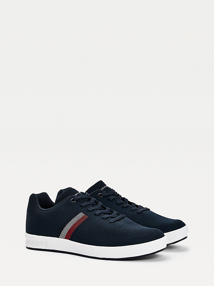 blue knitted cupsole trainers for men tommy hilfiger