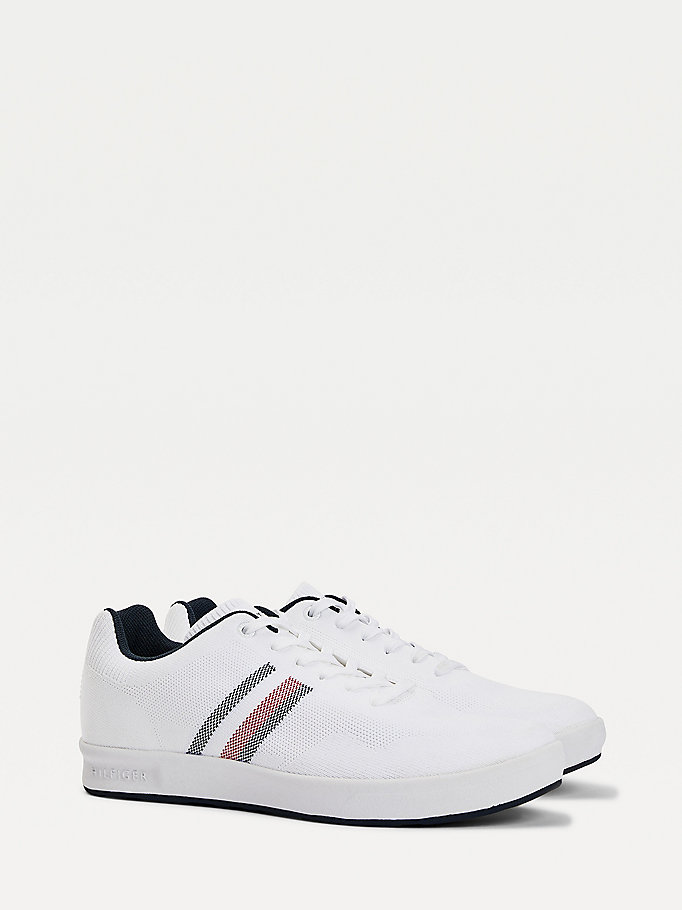 white knitted cupsole trainers for men tommy hilfiger